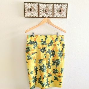 Lularoe yellow and blue Cassie skirt large